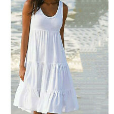 UK 6-24 Women Plain Dress Dresses Sundress Swing Tank Camisole Beach Holiday