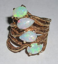 Four Stone Fiery Opal & 14K Yellow Gold Ladies Naturalist Ring 8.5 Grams Size 5