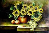 Stretched, Still Life with Sunflowers, Hand Painted Oil Painting 24x36in