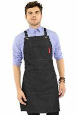Work Apron - Black Denim, Leather Trim, Cross-back, Chef, Bartender, Shop, Barbe