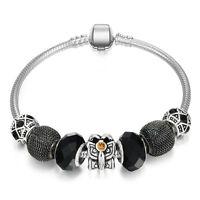 89228472c9348 WOW Silver Love Star Black Gold Fleck Murano Beads European Charm ...