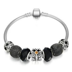 WOW Silver Black Orange Rhinestone Mesh Murano Beads Charm European Bracelet