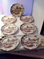 Staffordshire Yorkshire Multicolor Farm Scene # 4405 Salad Dessert Plates (7)
