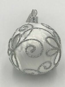 White Christmas Ornament with Silver Decor