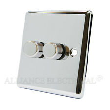 Polished Mirror Chrome Classical Dimmer 400W 2 Gang - CPC2GDIM40