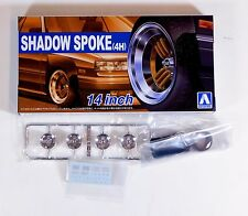 "Aoshima 1/24 Shadow Spoke 4H 14"" Wheel & Tire Set For Plastic Models 5322 (29)"