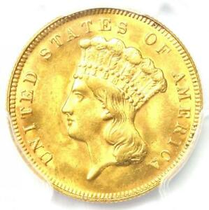 1878 Three Dollar Indian Gold Coin $3 - PCGS Uncirculated Details (UNC MS)