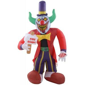 Outdoor Halloween Decorations Free Candy Scary Clown Inflatable Airblown 7' Yard
