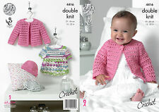 King Cole Baby Double Knit Crochet Pattern Dress Cardigan Hat Cherished DK 4416