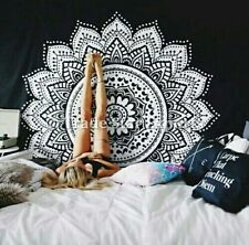 Indian Mandala Tapestry Black And White Wall Hanging Boho Hippie Throw Decor