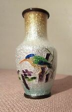 antique miniature mini Japanese enamel bronze bird small guilloche foil vase