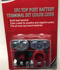2 Pc  Color Coded Top Post Battery Terminal Pair