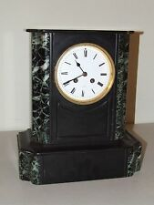 Antique Working French Victorian Art Deco Black Marble Slate Mantel Shelf Clock