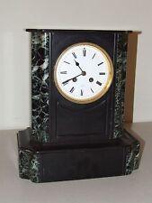 Antique Working French Victorian Art Deco Black Marble Slate Mantel Shelf Clock