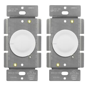 Lighted Rotary Dimmer Switch Push On Off Single Pole 600W Incandescent 2 Pack