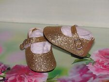 SHOES TO FIT THE AMERICAN GALOOB BABY FACE GIRL DOLL GOLD SPARKLE