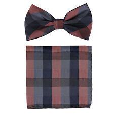 New Men's Pre-tied Bow tie & hankie set mauve gray checkers formal wedding