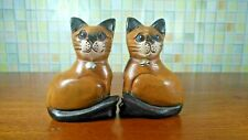 Wooden Pair Cat Bell Blue Eyes Hand Carved Statue Figurine Home Decor Gift Cute