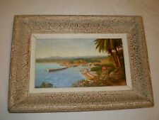 Robert Lemonnier Seascape Oil Canvas French Listed Artist Nice Vu Du Mont Baron
