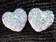Dainty Small Sparkly Ab Heart Crystal Diamante Diamond Stud Glitter Earrings