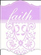 Purple Faith Scrollwork & Floral Blank Note Cards - Scalloped Edges - Set of 11
