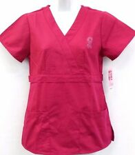 New Scrub Top Pockets Pink Hope Cancer Ribbon Logo 4 Different Color XS-2XL SALE