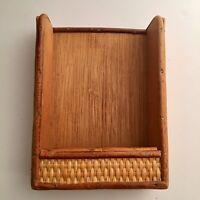 """Vintage Mid Century Wicker Ratan Woven Letter Memo holder for Desk 7"""" x 5"""" Boho"""