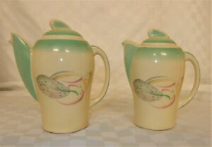 Susie Cooper Feather Decorated Kestrel Pattern Teapot & Hot Water Pot