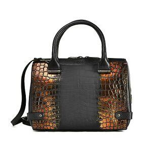 L.K. Bennett Women Bag Rosie Metallic Leather Black Rose Gold Made In Italy