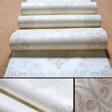 3D Embossed Flocked Non-woven Metallic Damask Wall&paper Roll Home Decor 10M