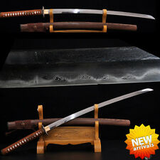 Japanese Samurai Sword Folded Steel & Clay Tempered Blade Sharp Full Tang Katana