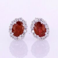 2.46 CT Ruby and Diamond Halo Set Earrings F SI 18K White Gold 017880
