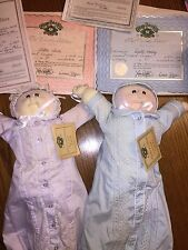 Cabbage Patch Preemie Twins Soft Sculpture 1985 Boy & Girl Paperwork