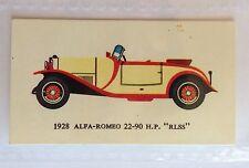 1928 Alfa Romeo 22-90 RLSS Mobil Oil Vintage Cars 1966 Trading Card Auto (B13)