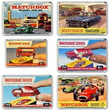 SET OF 6- RETRO 60's MATCHBOX CARS CATALOGUE ART -JUMBO FRIDGE / LOCKER MAGNETS