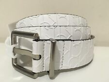 CALVIN KLEIN WOMEN'S SYNTHETIC LEATHER CK LOGO WHITE BELT SIZE L