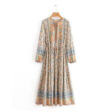 Boho Maxi Dress Size 10 12 M Long Sleeve Gypsy Floral Summer Modest Bohemian