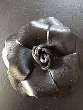 LOT OF 5 Hard Leather Rose black bow Craft sew on fabric flower Rose ribbon 3""