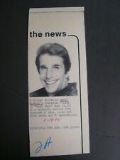 AP Wire Press Photo 1985 Triumph Driven by Henry Winkler Fonzie Happy Days $3200
