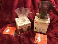 2 Melitta Kaffeefilter, Filter 102, Kunststoff 1 Loch, braun, transparent