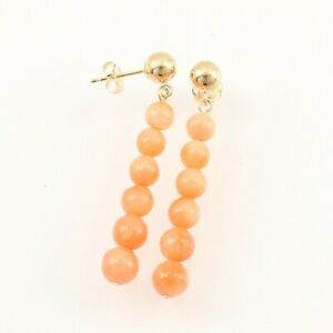 14K Yellow Gold Pink Coral Beads Dangling Earrings TPJ