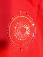 Two-handled Clear Glass Cheese Ball Tray/Plate Sawtooth rim