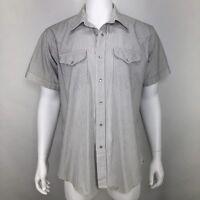 Vintage Ruddock Mens 17 Shirt Pearl Snap Striped White Western Rockabilly *Flaw