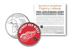 DETROIT RED WINGS NHL Hockey Michigan Statehood Quarter Colorized Coin LICENSED