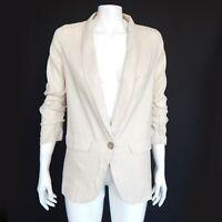 Princess Polly Light Sand Linen Cotton Casual Blazer Jacket size 0 - 520
