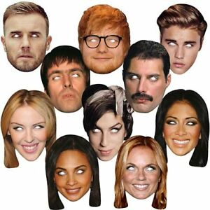 MUSIC CARD MASK PACK - Pack of 10 Celebrity Musicians Famous Faces