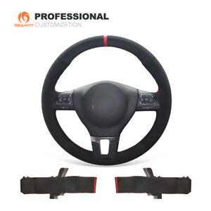 DIY Black Suede Steering Wheel Cover for VW Golf Tiguan Limited Passat Jetta