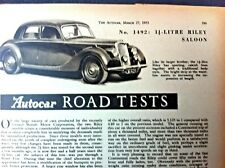 RILEY RME 1.5-Litre SALOON - 1953 - Road Test removed from The AUTOCAR