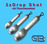 3 x Drop Shot Blei mit Tönnchenwirbel, 4g - 60g Angelblei, Grundblei, Barschblei