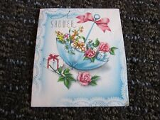 Vintage Greeting Card Small Shower Invitation Umbrella Roses Unused